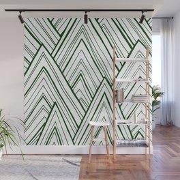 Stripe Mountains - Dark Green Wall Mural