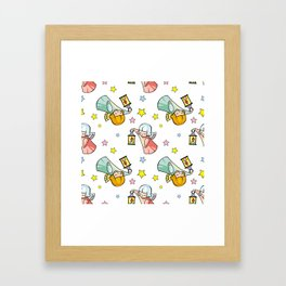 Pattern with little angels  Framed Art Print