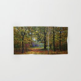 Jewels of Autumn Foliage with Sugar Maples, Lilac, White Birch & Blueberry landscape by V. Metyolkin Hand & Bath Towel