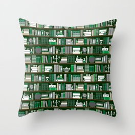 Book Case Pattern - Green and Grey Throw Pillow