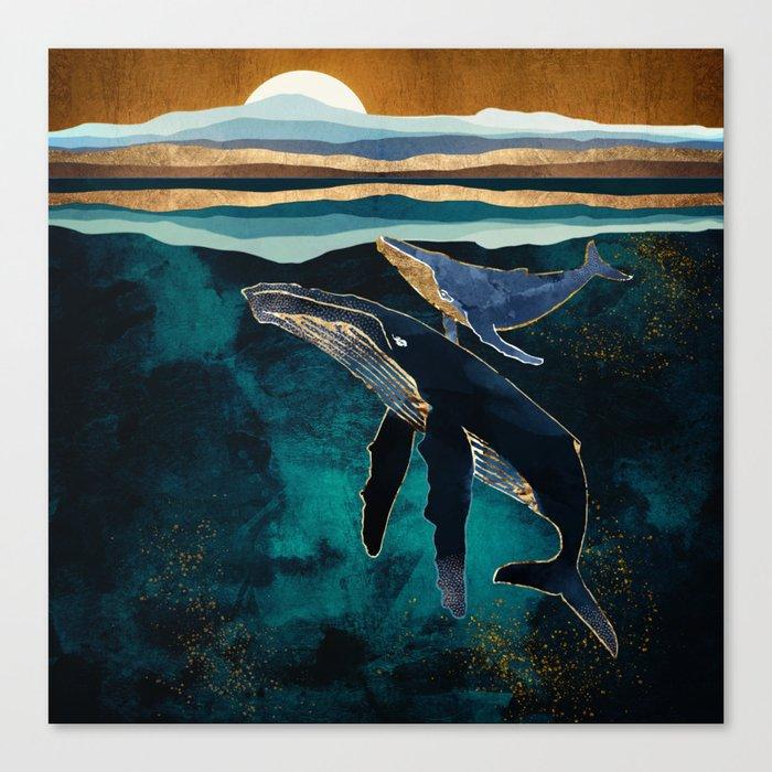 Moonlit Whales Leinwanddruck