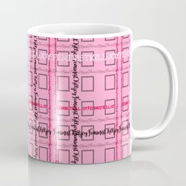 Pink and Grey 'Feminist Killjoy' Tartan Text Pattern Coffee Mug