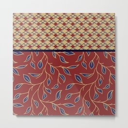Boho Batik Pattern Red Blue Yellow Gold Metal Print