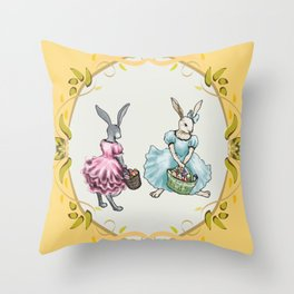 Dressed Easter Bunnies 2 Throw Pillow
