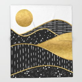 Gold Sun, digital surreal landscape Throw Blanket