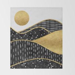 Gold Sun, digital surreal landscape Throw Blanket
