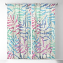 Watercolor Tropical Palm Leaves Sheer Curtain