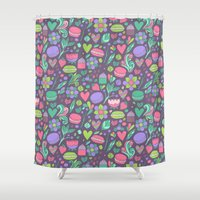 macaroon Shower Curtains featuring Macarons and flowers by Anna Alekseeva kostolom3000