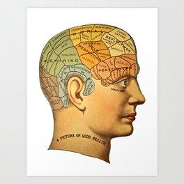Phrenology | A Picture of Good Health circa 1881 Art Print