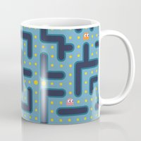pacman Mugs featuring RETRO GAME by Vickn