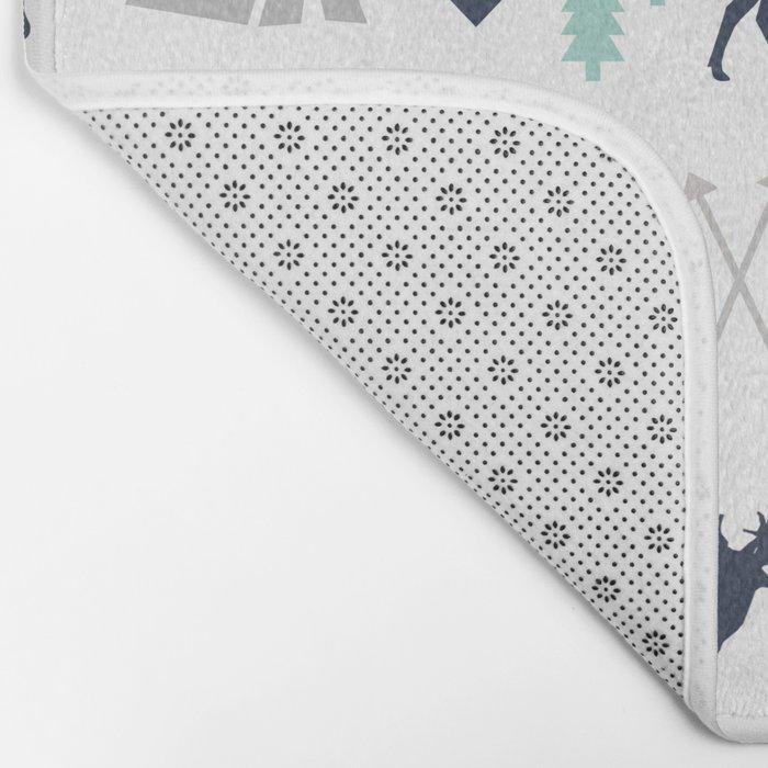 Camper pattern minimal nursery basic grey navy mint white camping cabin chalet decor Bath Mat