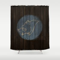skyrim Shower Curtains featuring Shield's of Skyrim - Windhelm by VineDesign