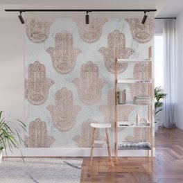 Modern rose gold floral lace hamsa hands white marble illustration pattern Wall Mural
