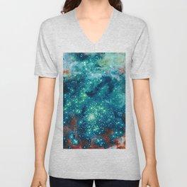 Teal Brown Glitter Sparkle Stars Unisex V-Neck
