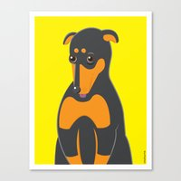 doberman Canvas Prints featuring Doberman by ununuctio