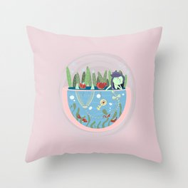 Mermaid in a pond Throw Pillow