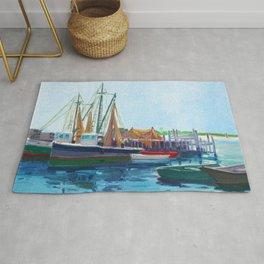 Galilee Fishing Village, Jerusalem, Point Judith, Narragansett, Rhode Island landscape painting Rug
