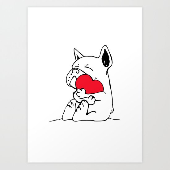 Frenchie Heart Art Print