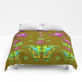 PURPLE LILIES BLUE-GREEN-YELLOW PATTERNED MOTHS Comforters
