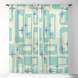 Retro Mid Century Modern Abstract Pattern 577 Turquoise Blue Sheer Curtain
