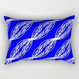 White molecular helix with diagonal circles on a blue sea background. Rectangular Pillow