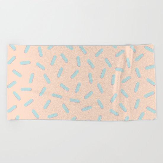 Memphis Bacteria Pattern Pastel Colors Peach Baby Blue Beach Towel