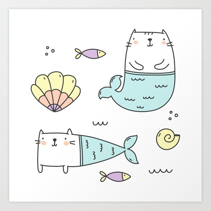 Ocean Merkitties Art Print