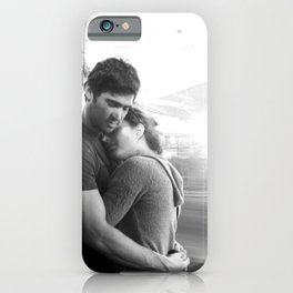 The Lovers | Timeless Night Scene Couple Embrace Romantic Hug Black and White Long Exposure iPhone Case