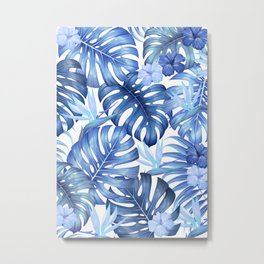 Blue tropical pattern  (monstera leaves and bird of paradise flowers Metal Print