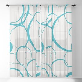 Ring Pattern V63 2021 Color of the Year Accents Cloud Dancer 11-4201 White Peacock Blue 16-4728 Aqua Sheer Curtain