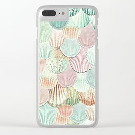 MERMAID SHELLS - MINT & ROSEGOLD Clear iPhone Case