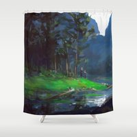 woods Shower Curtains featuring Woods by Camila Vielmond