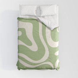 Modern Liquid Swirl Abstract Pattern in Light Sage Green and Cream Comforters