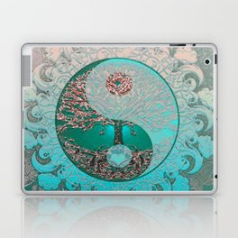 Pretty Chic Teal Tree of Life with Yin Yang and Heart Laptop & iPad Skin
