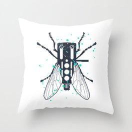 Cartridgebug of Mixing on Turntable Throw Pillow