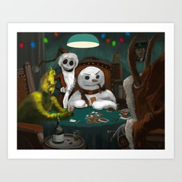 Holiday Horrors Playing Poker Art Print