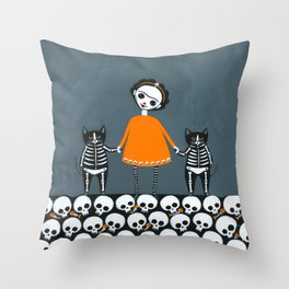 Day of the Dead Skellie Cats Orange Throw Pillow