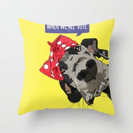 Political Pups - When We All Vote Great Dane Throw Pillow