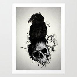 Raven and Skull Art Print