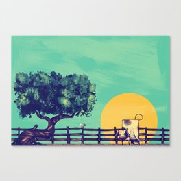 Cow Sunset Canvas Print