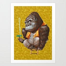 Relaxing Gorilla on Gold-leaf Screen Art Print