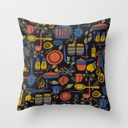 Kitchen Utensils on Black Throw Pillow