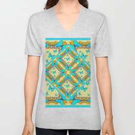 Western Style Turquoise Butterflies Creamy Gold Patterns Art Unisex V-Neck