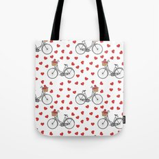 Vintage bicycles and love hearts Tote Bag
