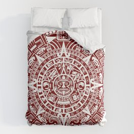 Mayan Calendar // Burgundy Comforters