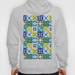 Moroccan tiles pattern with blue and yellow no4 Hoody