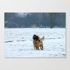 Dogs playing in the snow Canvas Print