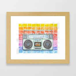 Boombox - Watercolor - Rainbow Background vintage boombox - Stereo - 1980s Framed Art Print