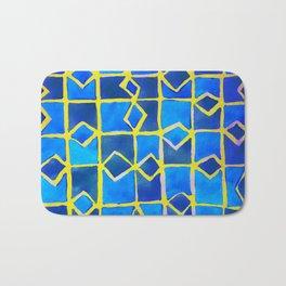 blue abstract pattern Bath Mat