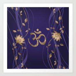 Om Symbol Golden Lotus Flowers on purple Art Print